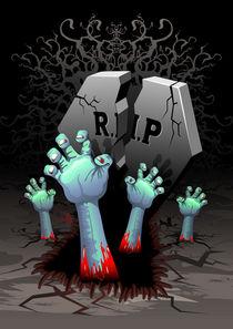 Zombie Bloody Hands on Cemetery by bluedarkart-lem