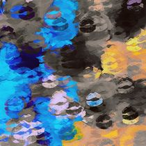 black blue and orange kisses lipstick abstract background by timla