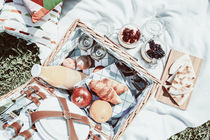 Picnic Basket With Fruits, Orange Juice, Croissants, Quesadilla And No Bake Blueberry And Strawberry Jam Cheesecake by Radu Bercan