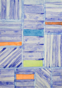 Blue Panel with Colorful Rectangles von Heidi  Capitaine