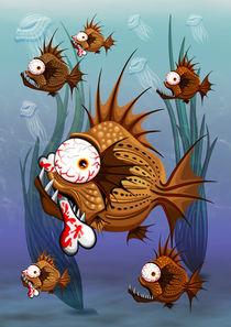 Psycho Fish Piranha with Bone by bluedarkart-lem