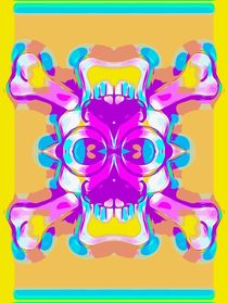 colorful skull head with glasses and mustache and yellow background von timla