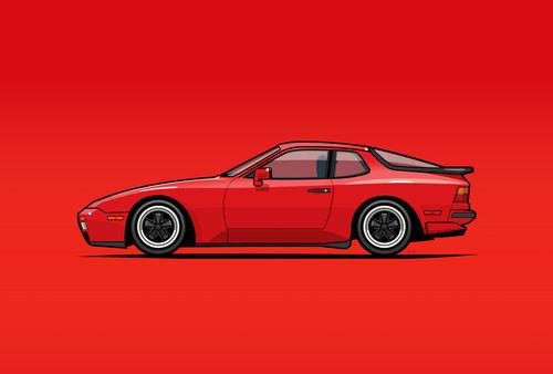Illu-porsche-944-turbo-red-poster