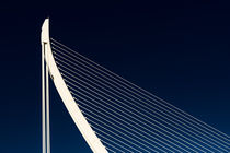 White Abstract Bridge Structure On Blue Sky von Radu Bercan