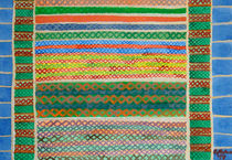Colorful Stiches on Horizontal Colorful Stripes by Heidi  Capitaine