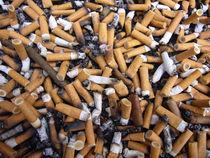 Aschenbecher mit Zigarettenstummel Zigarettenkippen by Heiko Esch