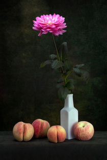 Flowers dahlias and peaches by Valentin Ivantsov