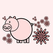Pink pig in flowers by Yolande Anderson