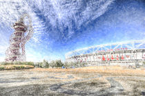 West Ham Olympic Stadium And The Arcelormittal Orbit Snow von David Pyatt