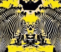 zebras with yellow and black background by timla