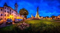 View of the Central Square Stefánikovo Námestie of Kremnica at night by Zoltan Duray