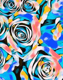 blue pink white and yellow roses texture background von timla