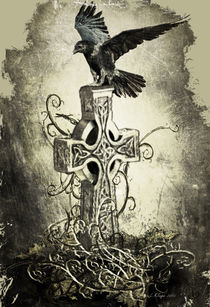 Rabe auf keltischen Kreuz von Lilly Kluge