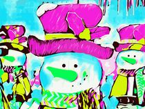 snowman with pink hat and blue background von timla