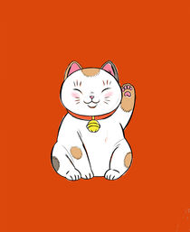 Manekineko Japanese cat on orange background by ft