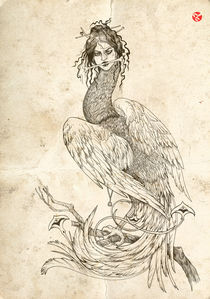 The bird of Sirin is a mythological creature of legend. Female bird by ft