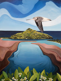 Godwit over Paku by Guy Harkness