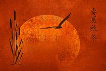 Schilfgras mit asiatischen Schriftzeichen für Jahreszeiten  von Monika Juengling