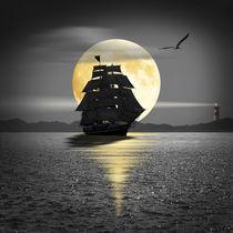 Ein Segelschiff unter schwarzen Segeln von Monika Juengling