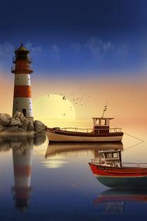 Morgens am Leuchtturm beim Hafen von Monika Juengling