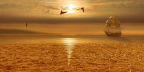 Ein Segelschiff fährt zurück in den Hafen von Monika Juengling