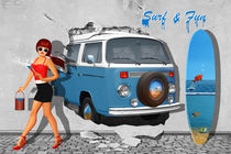 Back to the 60s mit Bulli T2 und Pin Up Girl von Monika Juengling