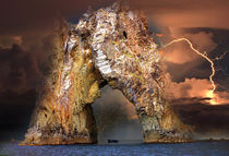 Rock Golden Gate of Karadag during a thunderstorm by Yuri Hope
