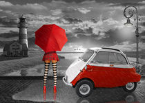 Pin Up Girl im Partnerlook mit Isetta Oldtimer by Monika Juengling