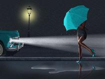 Rainy Day, die Frau unter einem grünen Regenschirm von Monika Juengling