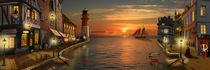 Nostalgischer Hafen im Sonnenuntergang von Monika Juengling