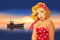 Retro Pin-up girl am Meer von Monika Juengling