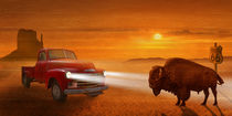 Meeting in the sunset on Route 66 by Monika Juengling