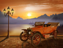 Oldtimer am Bergsee - Vintage car at the lake von Monika Juengling