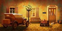 Oldtimer mit Reisekoffer beim Hotel by Monika Juengling