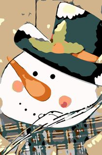drawing snow man doll with snow and hat by timla