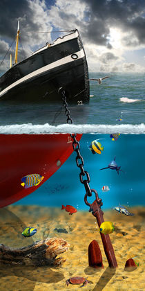 Der Schiffsuntergang mit Blick in die Tiefe von Monika Juengling