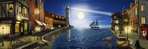 Der Nostalgie-Hafen in der Nacht von Monika Juengling