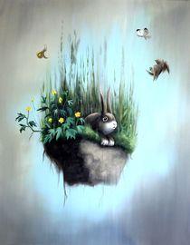 fallendes Wiesenstück mit Kaninchen von multimoni