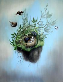 fallendes Wiesenstück mit Nest von multimoni