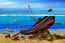 Das Schiffswrack in den Tiefen by Monika Juengling