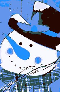 drawing snowman blue nose and blue background by timla