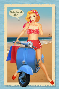 Pin up girl say hello from the 50s von Monika Juengling