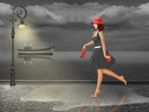 Woman is dancing in the rain by Monika Juengling