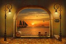 Leuchtend goldenes Tor zum Hafen von Monika Juengling