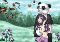 Plum & Panda (butterfly) by mo0ncat