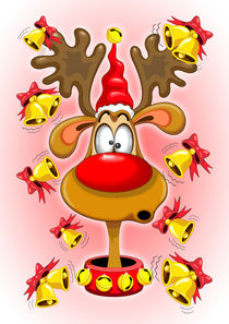 Reindeer Fun Christmas Cartoon with Bells Alarms von bluedarkart-lem