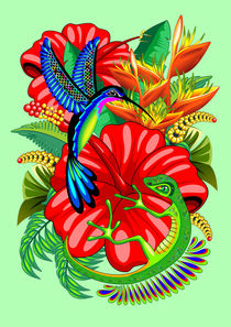 The Lizard, The Hummingbird and The Hibiscus von bluedarkart-lem