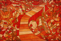 Path in brown and orange 3d landscape by Sharon Yanai