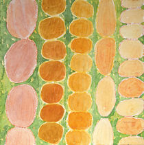 Rows of Round and Reddish Food on Green  von Heidi  Capitaine