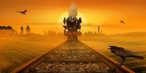 Dampflokomotive im Abendlicht mit Rabe von Monika Juengling